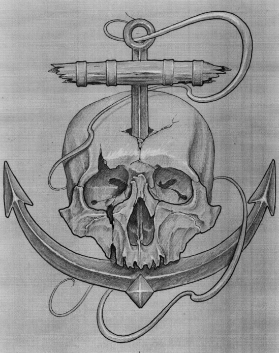 Skull and anchor  tattoo design