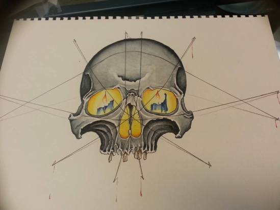 Skull painting water color