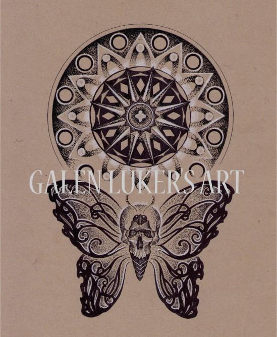 skull butterfly mandala design
