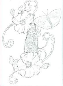 Color filigree flower